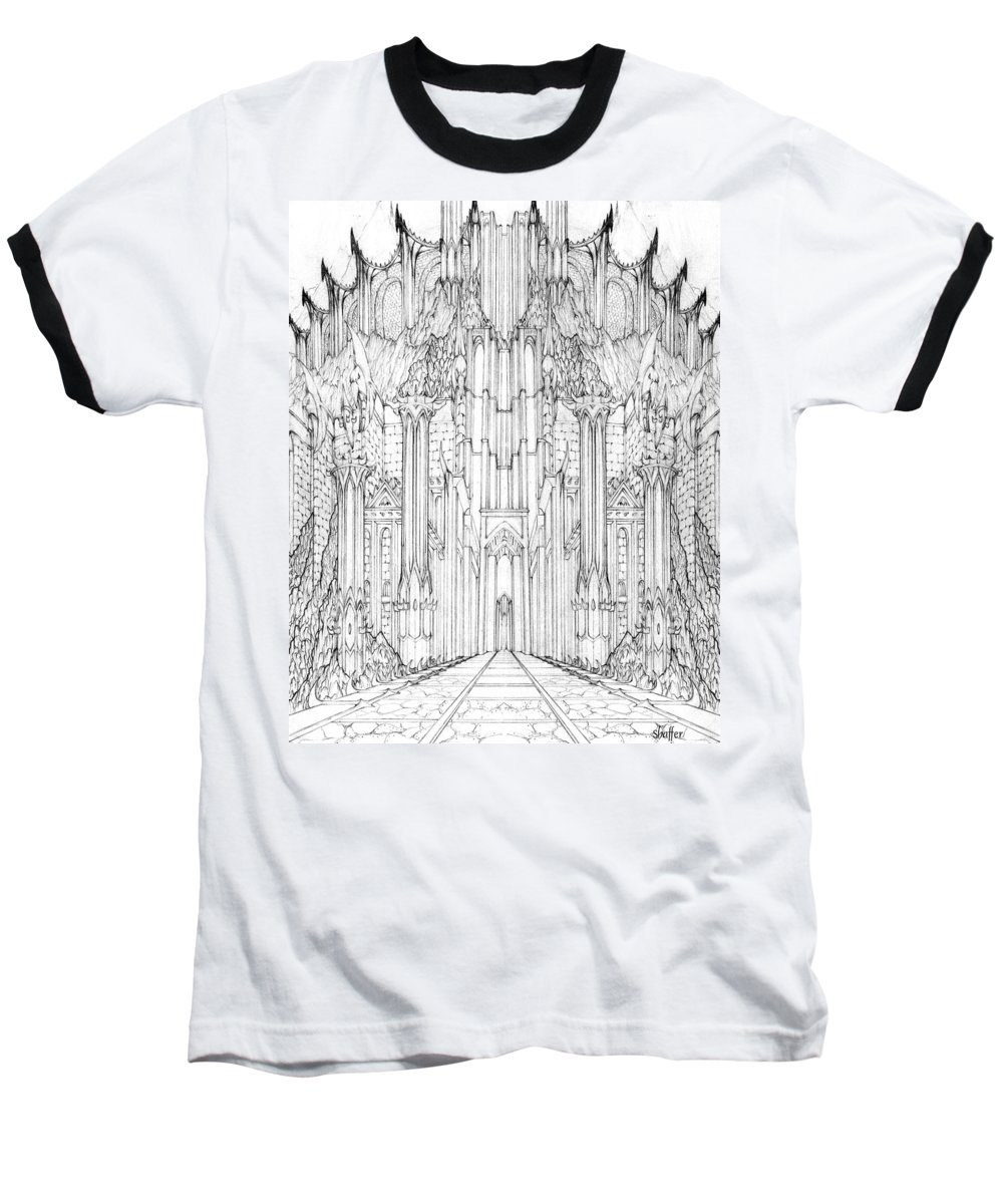 Barad-dur Baseball T-Shirt featuring the drawing Barad-dur Gate Study by Curtiss Shaffer