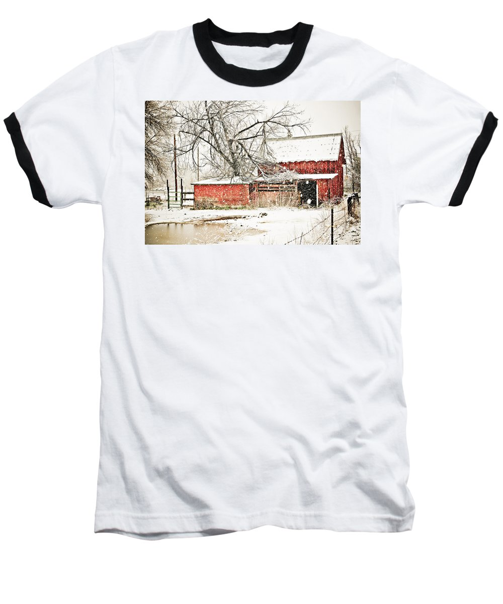 Americana Baseball T-Shirt featuring the photograph Barn And Pond by Marilyn Hunt