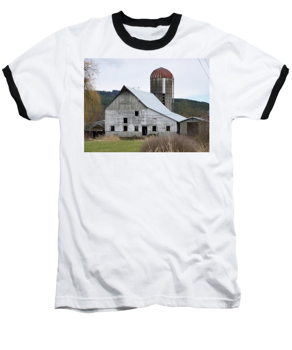 Digital Photography Baseball T-Shirt featuring the photograph Barn And Silo by Laurie Kidd