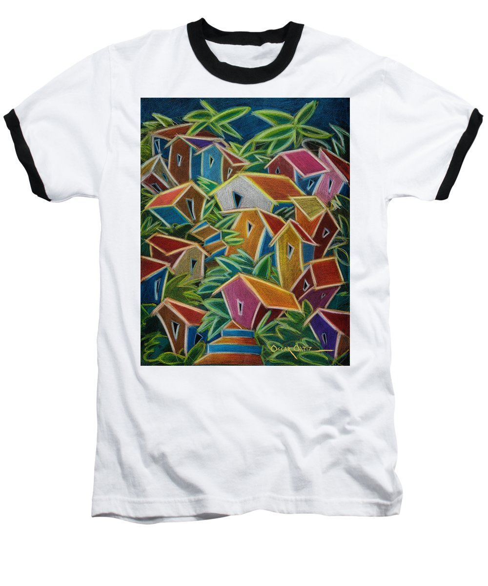 Landscape Baseball T-Shirt featuring the painting Barrio Lindo by Oscar Ortiz