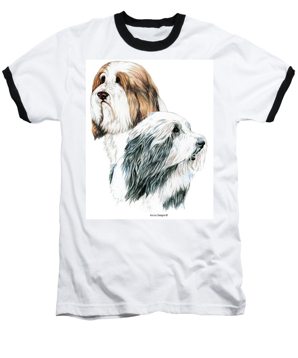 Bearded Collies Baseball T-Shirt featuring the drawing Bearded Collies by Kathleen Sepulveda