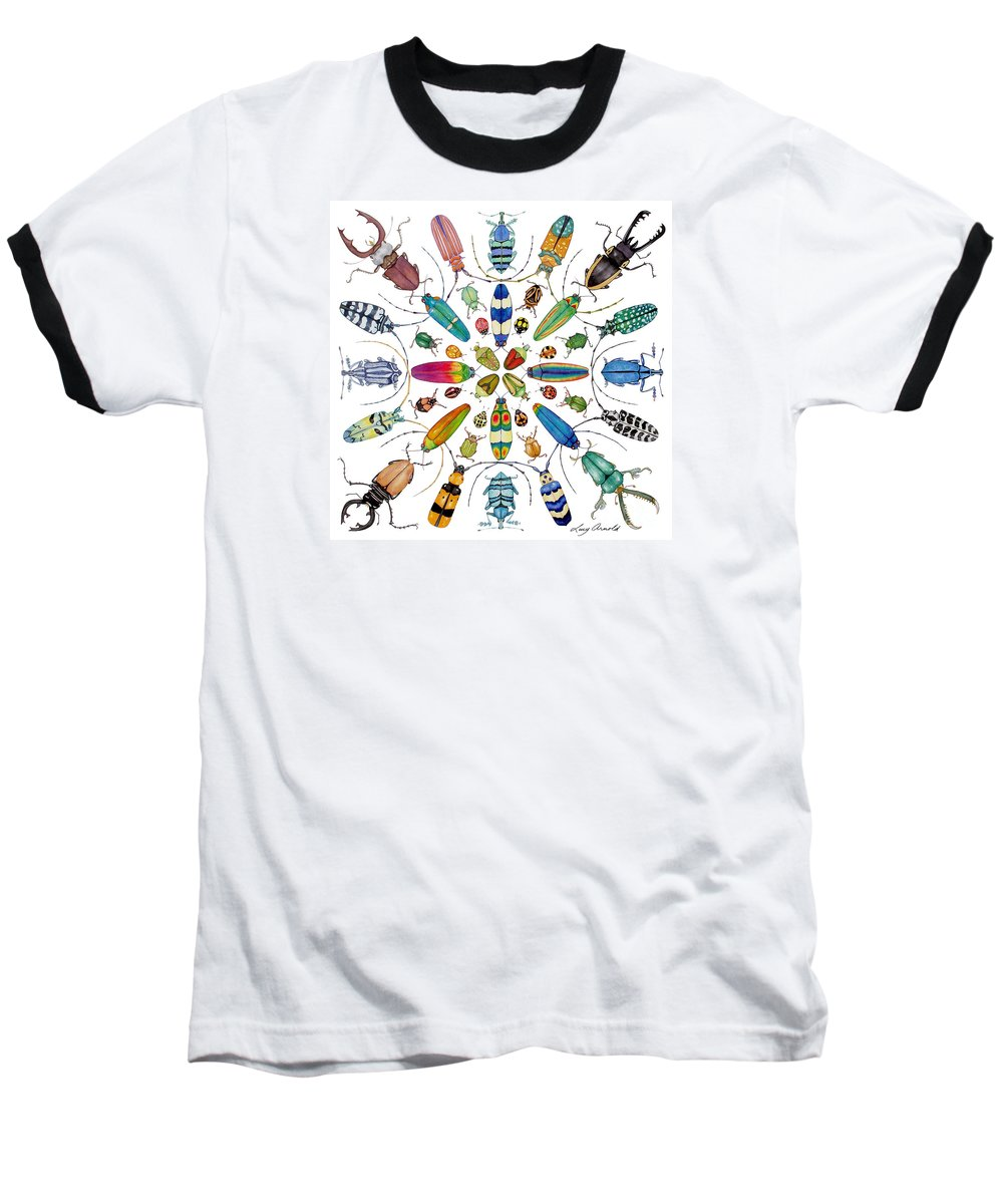 Insects Baseball T-Shirt featuring the painting Beautiful Beetles by Lucy Arnold