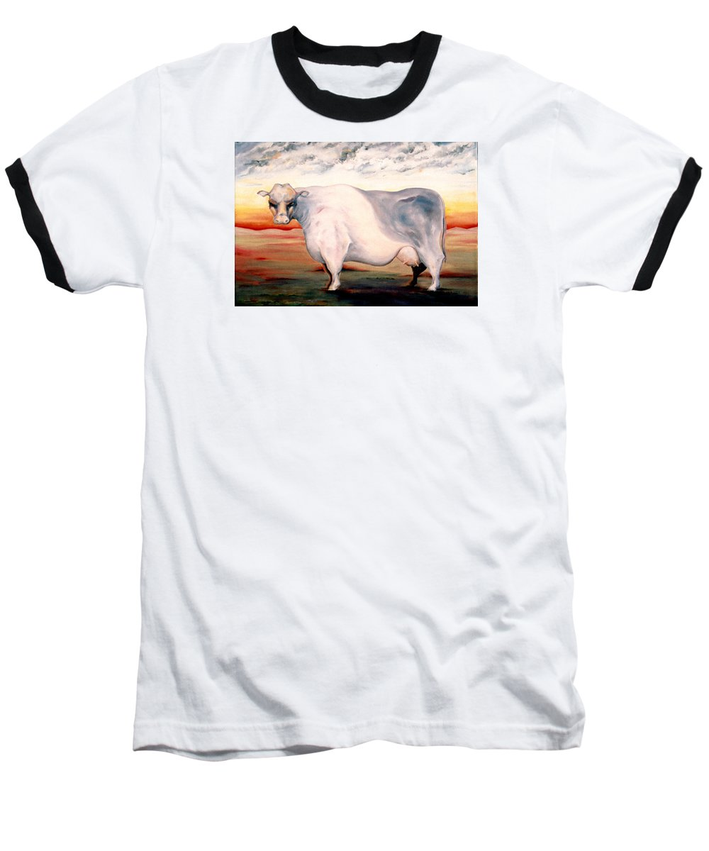 Cow Baseball T-Shirt featuring the painting Beef Holocaust II by Mark Cawood