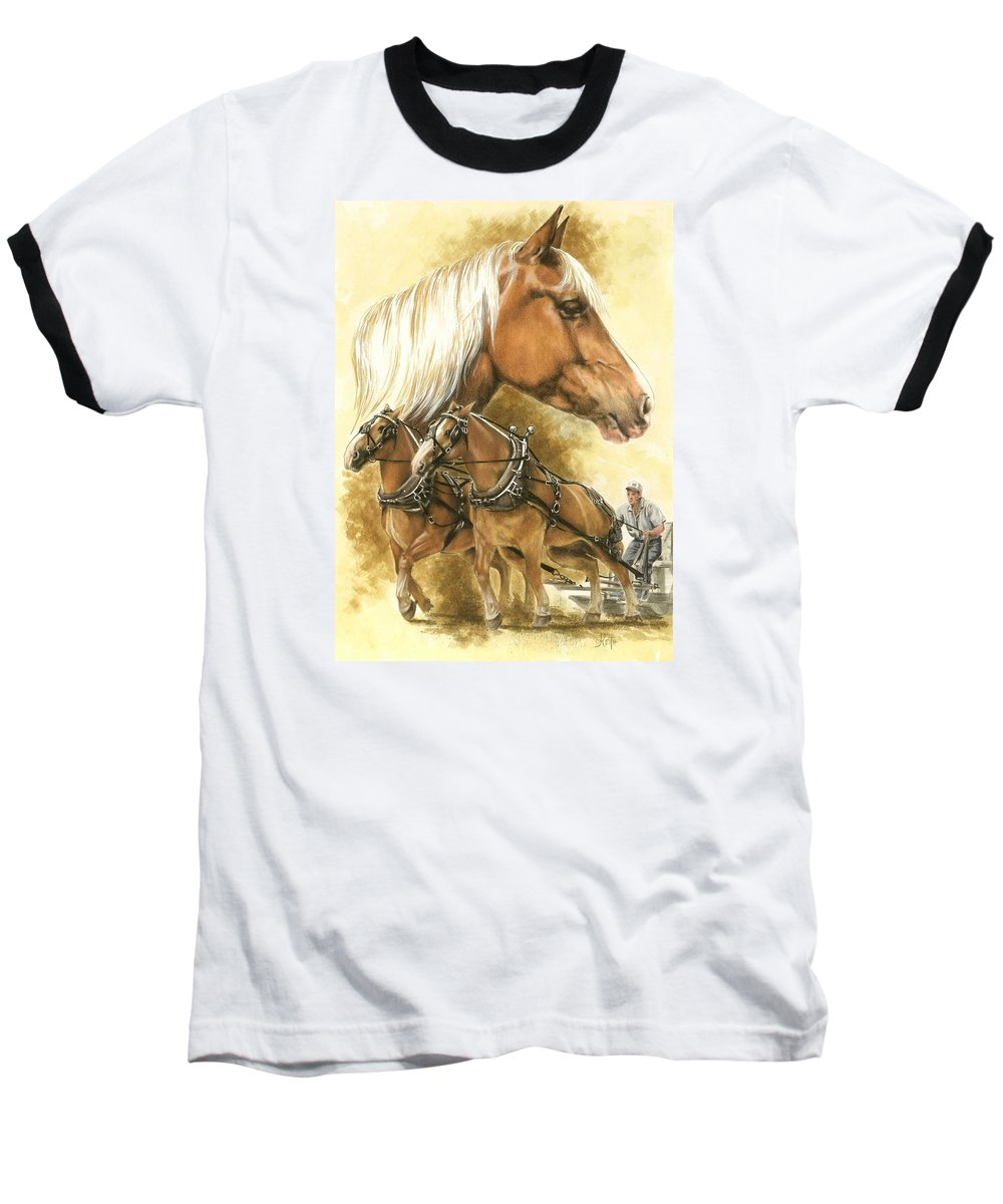 Equus Baseball T-Shirt featuring the mixed media Belgian by Barbara Keith