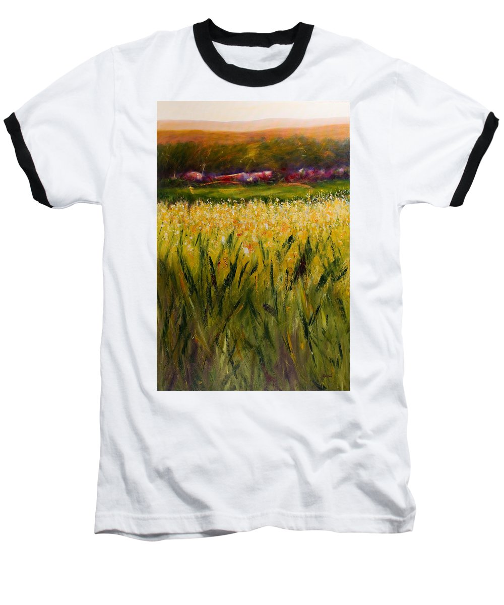 Landscape Baseball T-Shirt featuring the painting Beyond The Valley by Shannon Grissom
