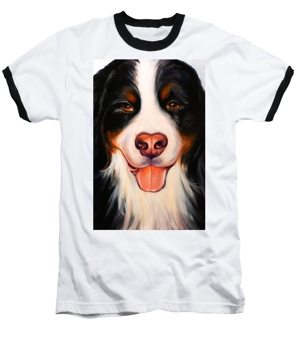 Dog Baseball T-Shirt featuring the painting Big Willie by Shannon Grissom