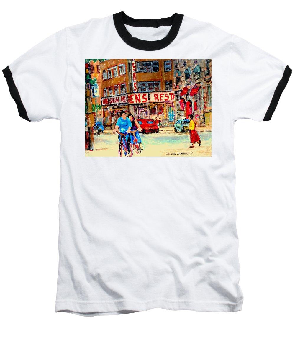 Montreal Baseball T-Shirt featuring the painting Biking Past Ben by Carole Spandau