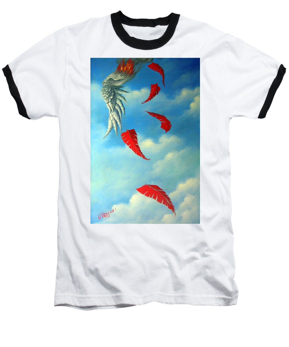 Surreal Baseball T-Shirt featuring the painting Bird On Fire by Valerie Vescovi