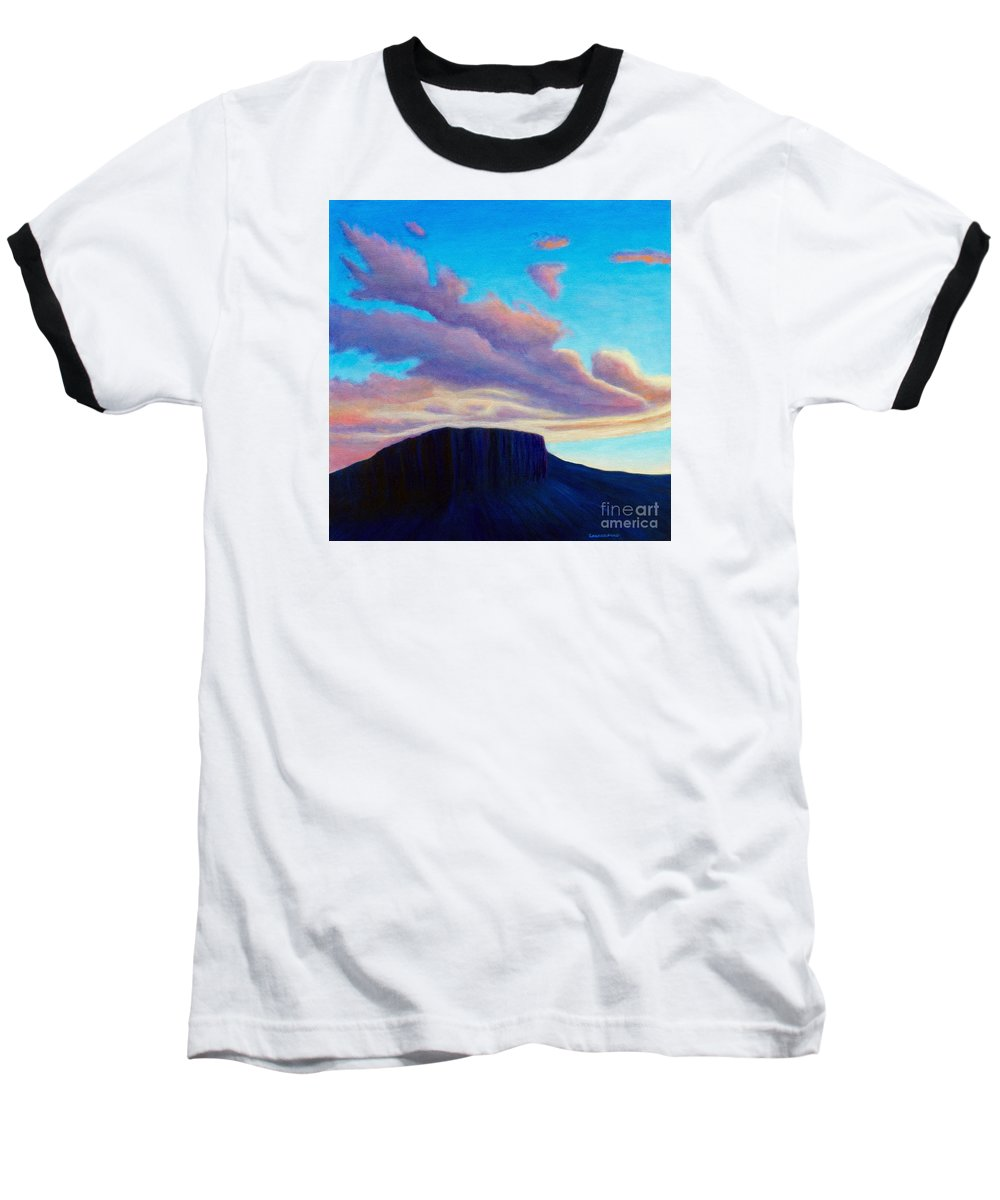 Landscape Baseball T-Shirt featuring the painting Black Mesa Sunset by Brian Commerford