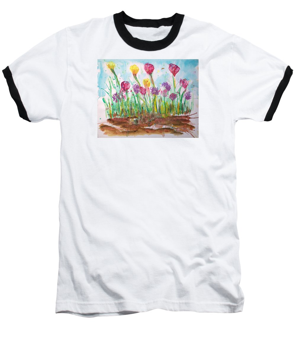 Flowers Baseball T-Shirt featuring the painting Blooming Colors by J R Seymour