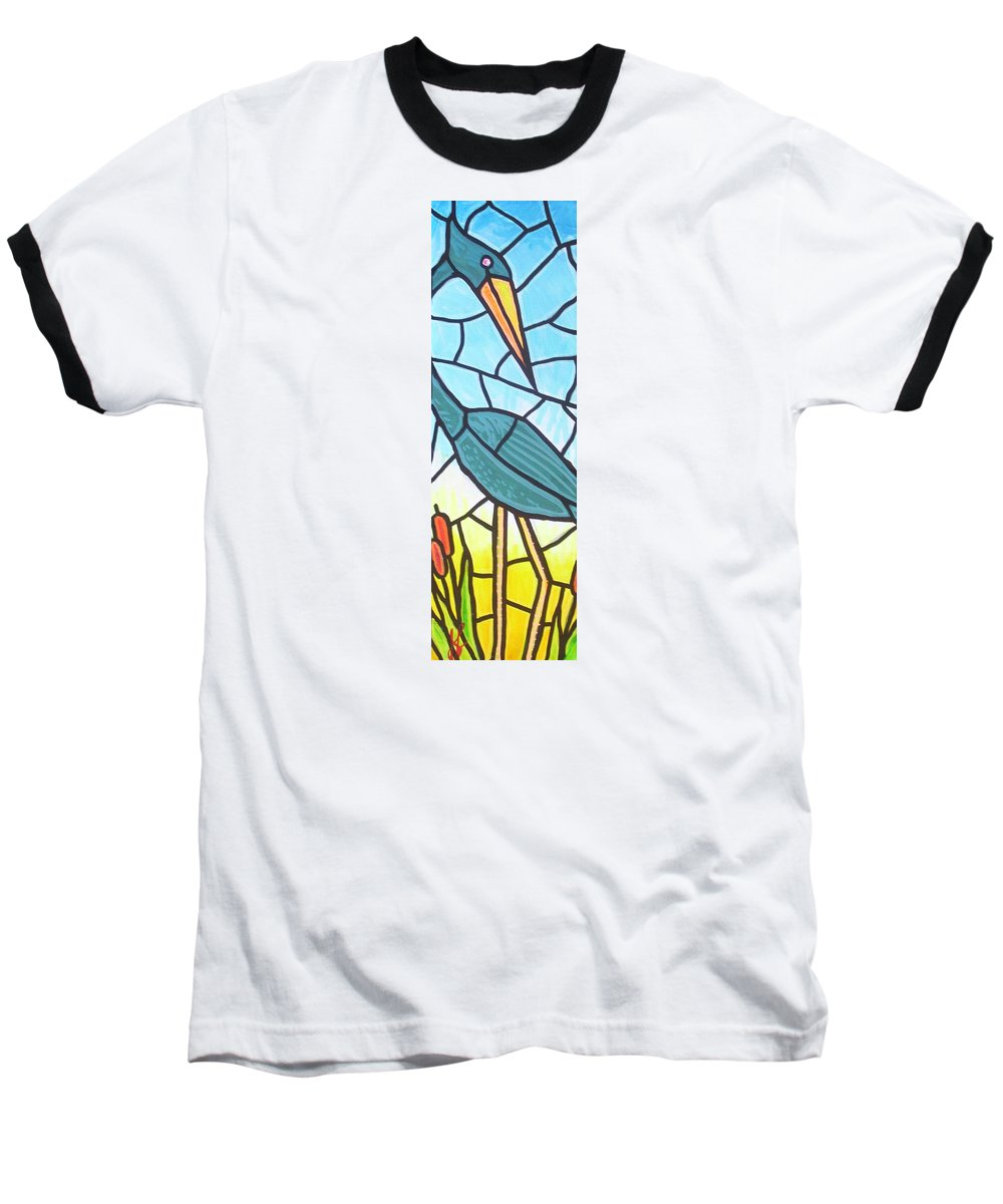 Heron Baseball T-Shirt featuring the painting Blue Heron by Jim Harris