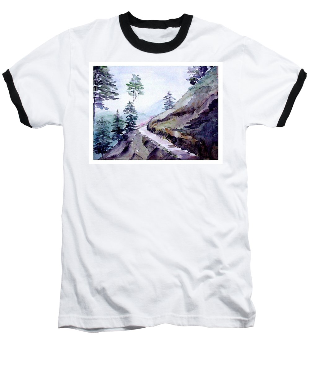 Landscape Baseball T-Shirt featuring the painting Blue Hills by Anil Nene