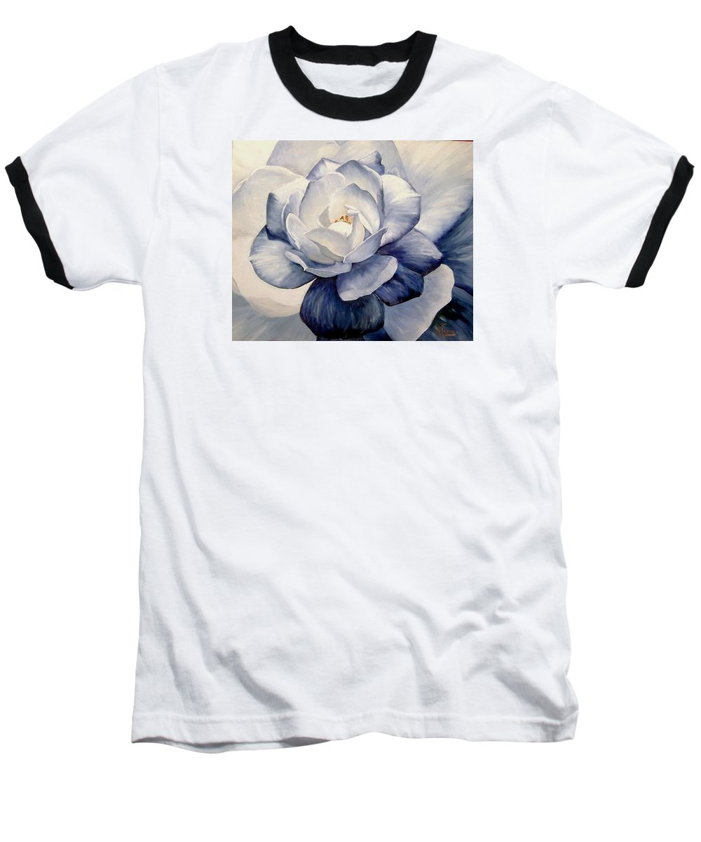 Flower Macro Nature Blue Gardenia Baseball T-Shirt featuring the painting Blue by Natalia Tejera