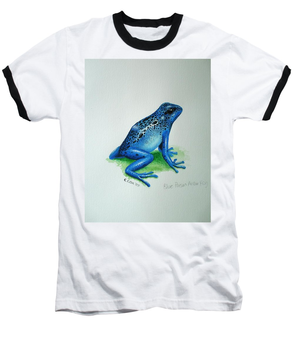 Poison Arrow Frog Baseball T-Shirt featuring the painting Blue Poison Arrow Frog by Christopher Cox