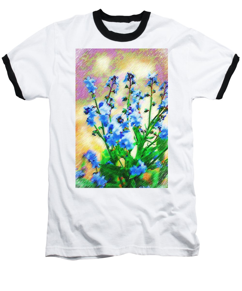 Blue Baseball T-Shirt featuring the photograph Blue Wildflowers by Donna Bentley