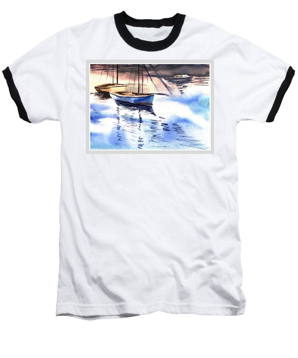 Watercolor Baseball T-Shirt featuring the painting Boat And The River by Anil Nene