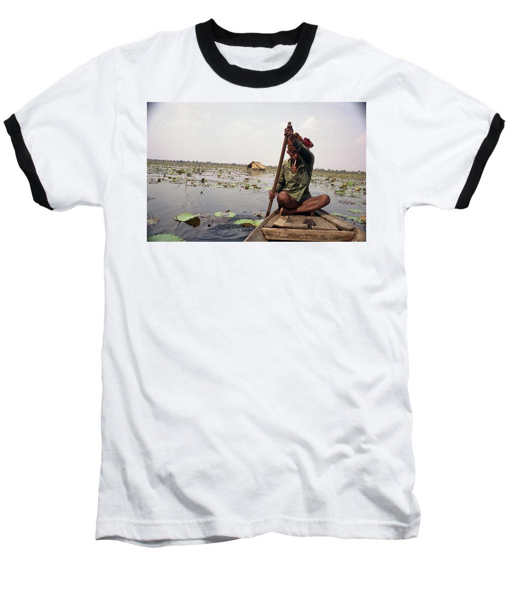 Cambodia Baseball T-Shirt featuring the photograph Boatman - Battambang by Patrick Klauss