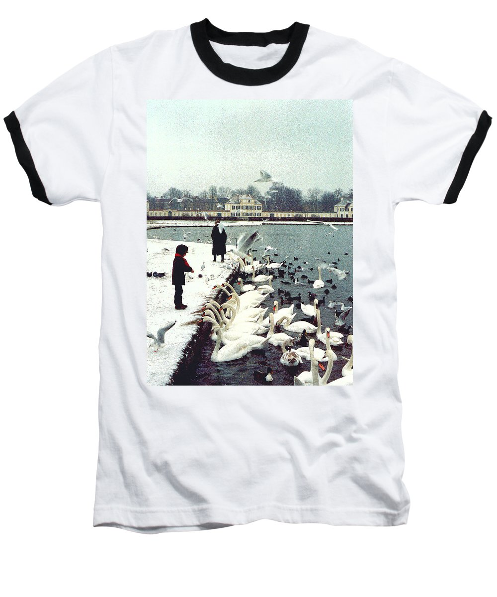 Swans Baseball T-Shirt featuring the photograph Boy Feeding Swans- Germany by Nancy Mueller
