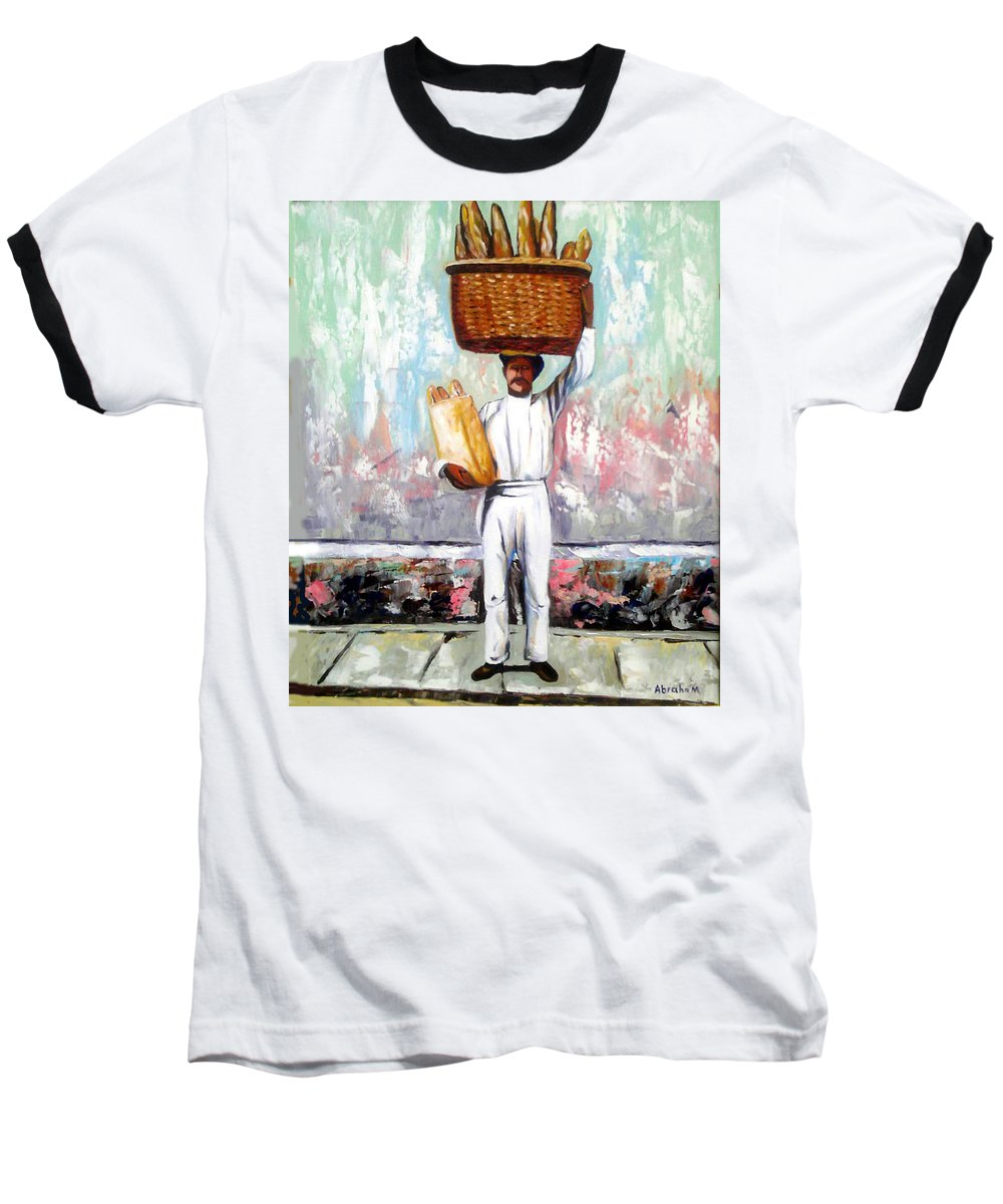 Bread Baseball T-Shirt featuring the painting Breadman by Jose Manuel Abraham