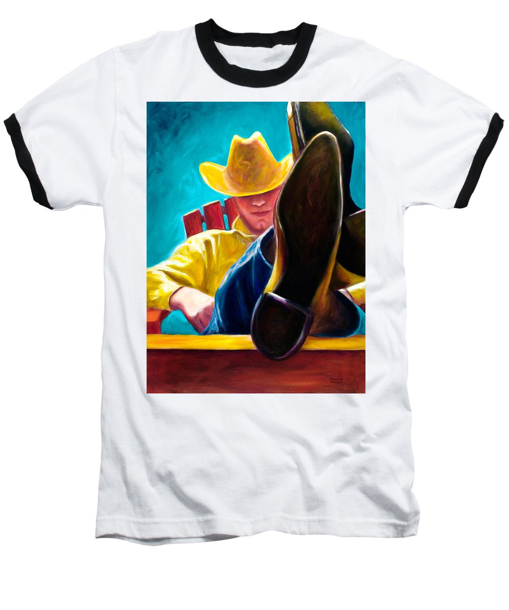 Western Baseball T-Shirt featuring the painting Break Time by Shannon Grissom