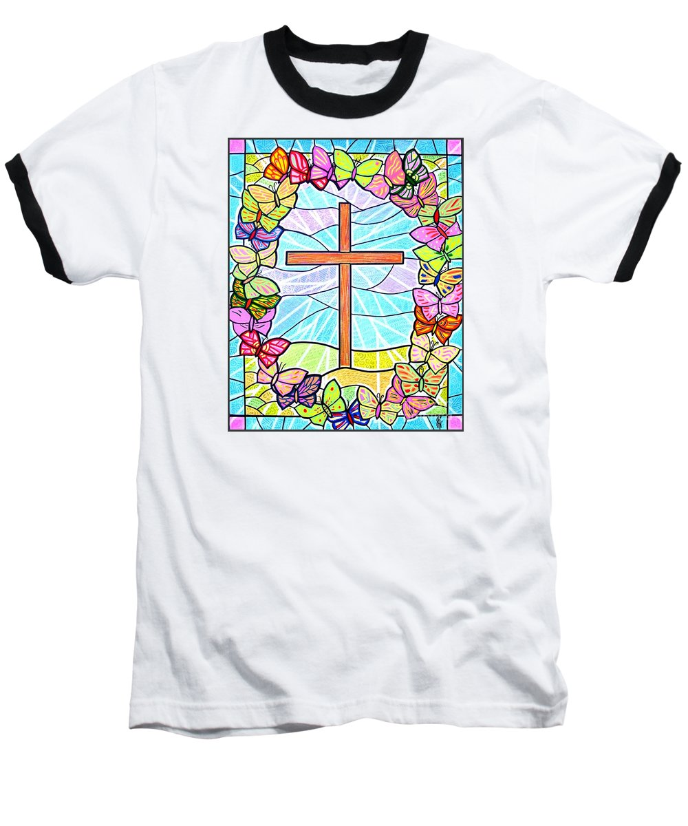 Easter Baseball T-Shirt featuring the painting Butterflies And Cross by Jim Harris