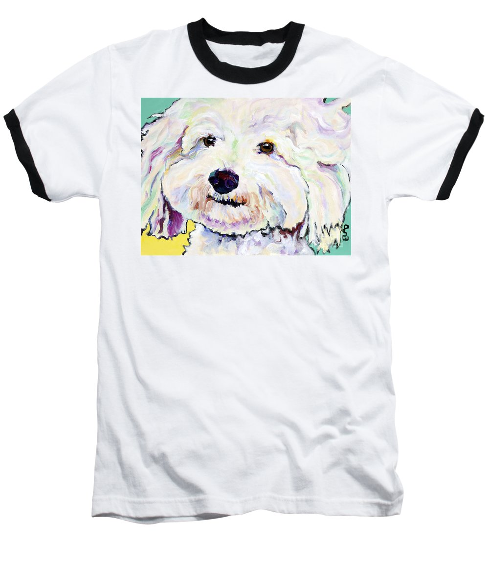 Bischon Baseball T-Shirt featuring the painting Buttons  by Pat Saunders-White