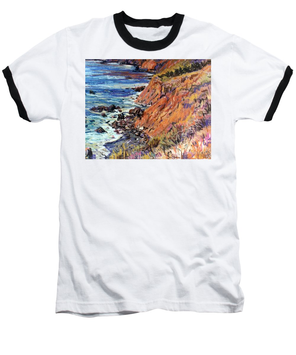 Big Sur Baseball T-Shirt featuring the drawing California Coast by Donald Maier