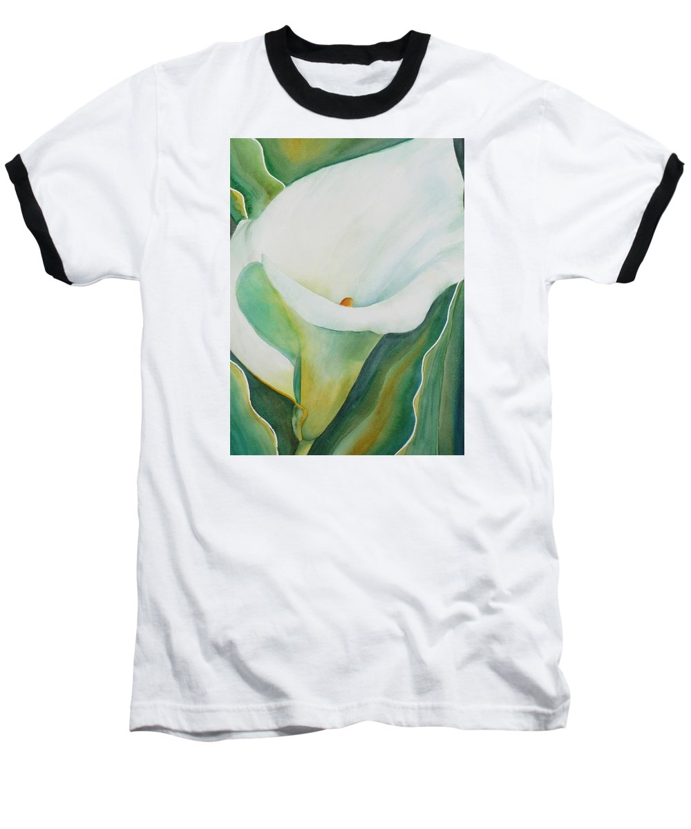 Flower Baseball T-Shirt featuring the painting Calla Lily by Ruth Kamenev