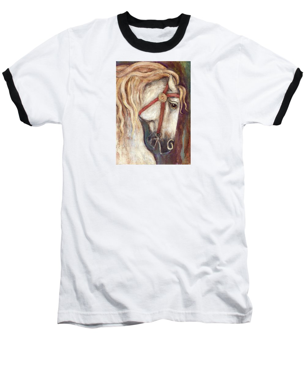 Horse Painting Baseball T-Shirt featuring the painting Carousel Horse Painting by Frances Gillotti