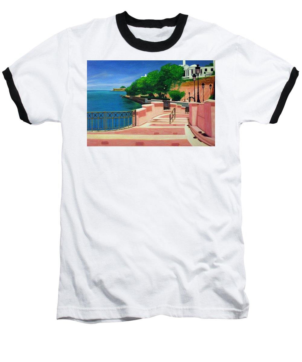 Landscape Baseball T-Shirt featuring the painting Casa Blanca - Puerto Rico by Tito Santiago