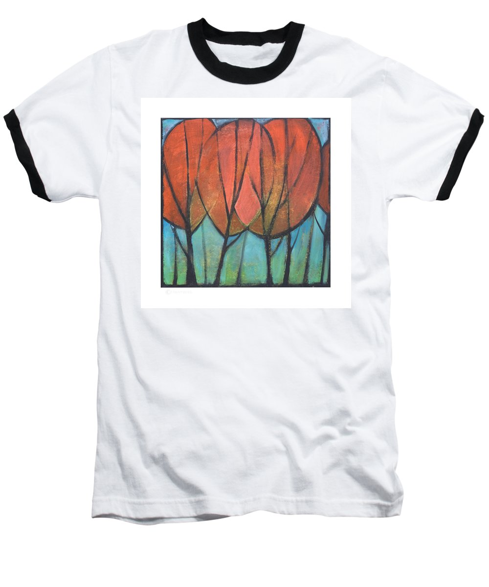 Trees Baseball T-Shirt featuring the painting Cathedral by Tim Nyberg
