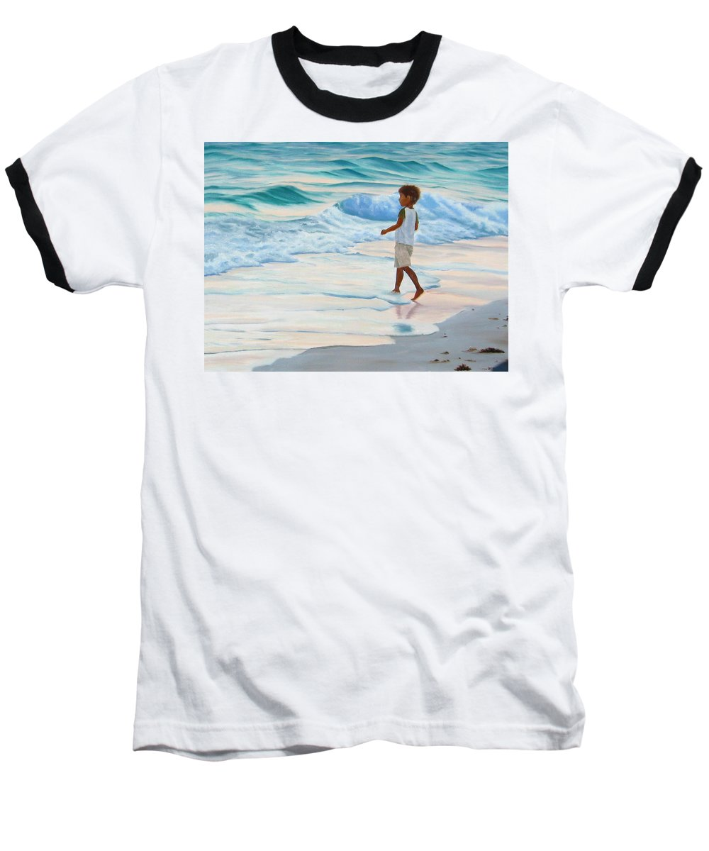Child Baseball T-Shirt featuring the painting Chasing The Waves by Lea Novak