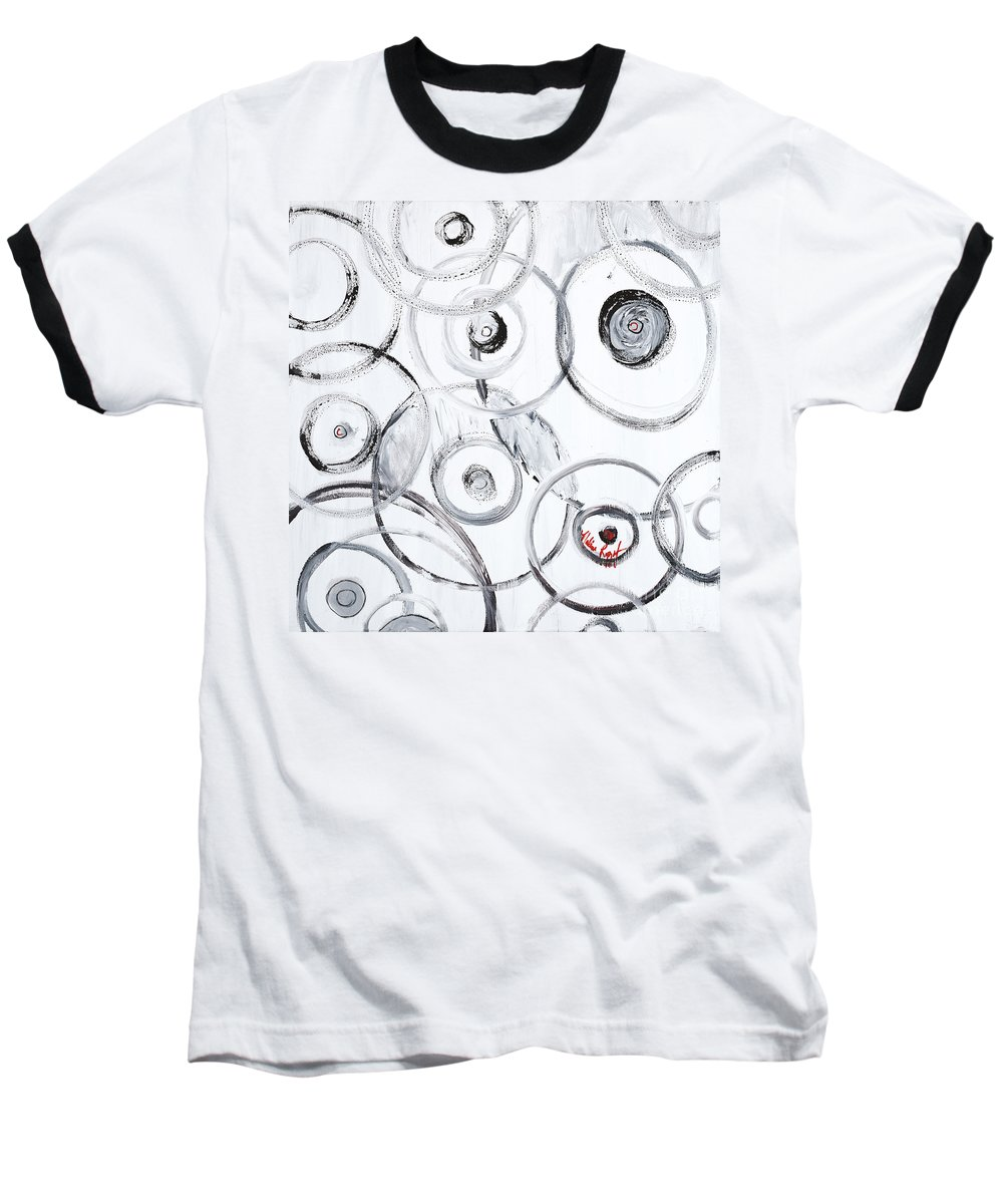 Circles Baseball T-Shirt featuring the painting Choices In White by Nadine Rippelmeyer