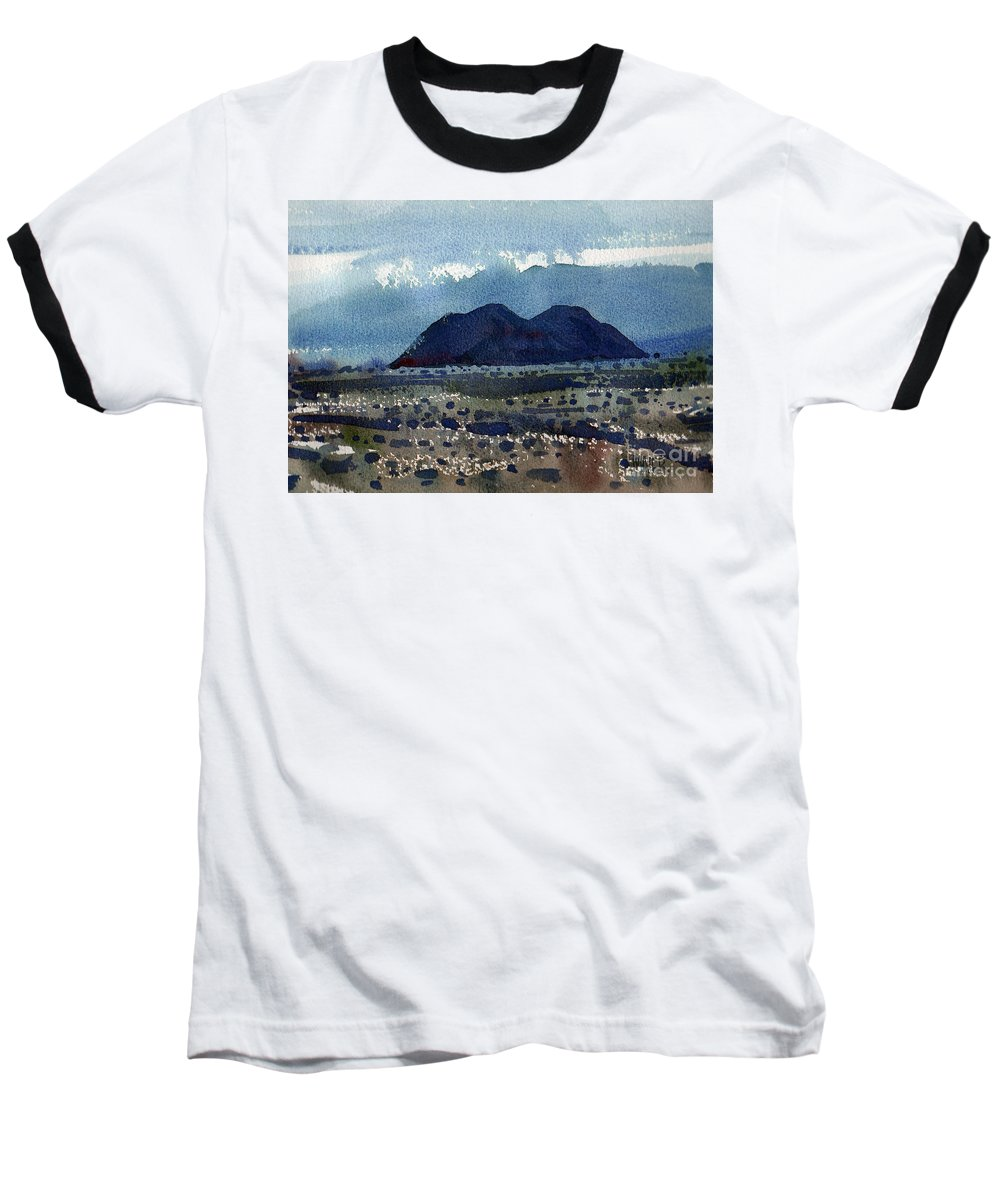 Cinder Cone Baseball T-Shirt featuring the painting Cinder Cone Death Valley by Donald Maier