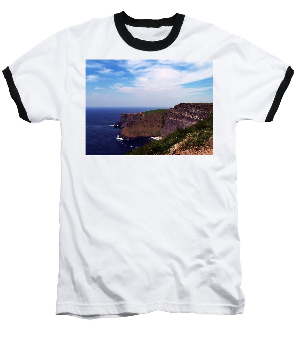 Irish Baseball T-Shirt featuring the photograph Cliffs Of Moher Aill Na Searrach Ireland by Teresa Mucha