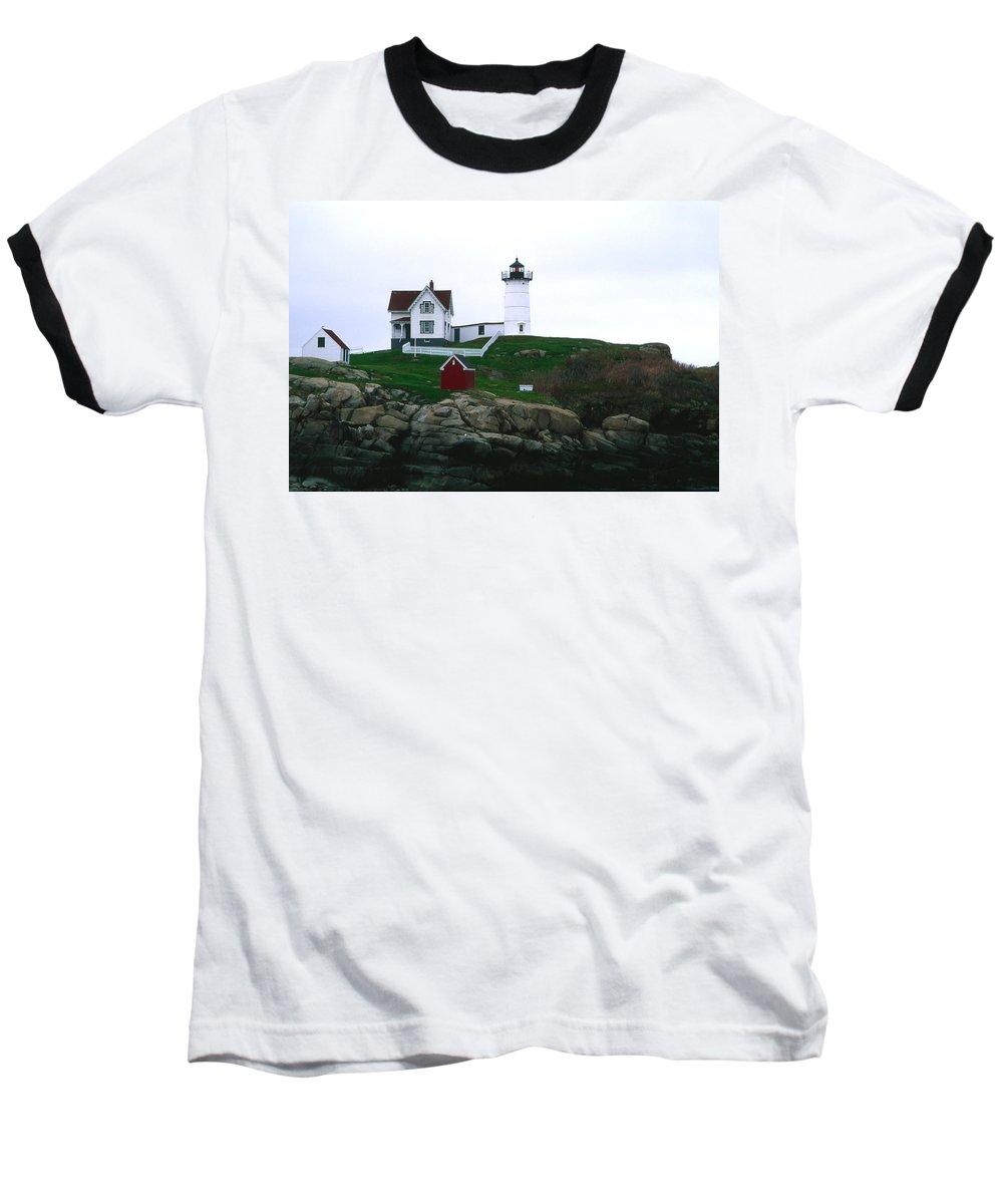 Landscape Lighthouse Nautical New England Nubble Light Cape Neddick Baseball T-Shirt featuring the photograph Cnrf0502 by Henry Butz