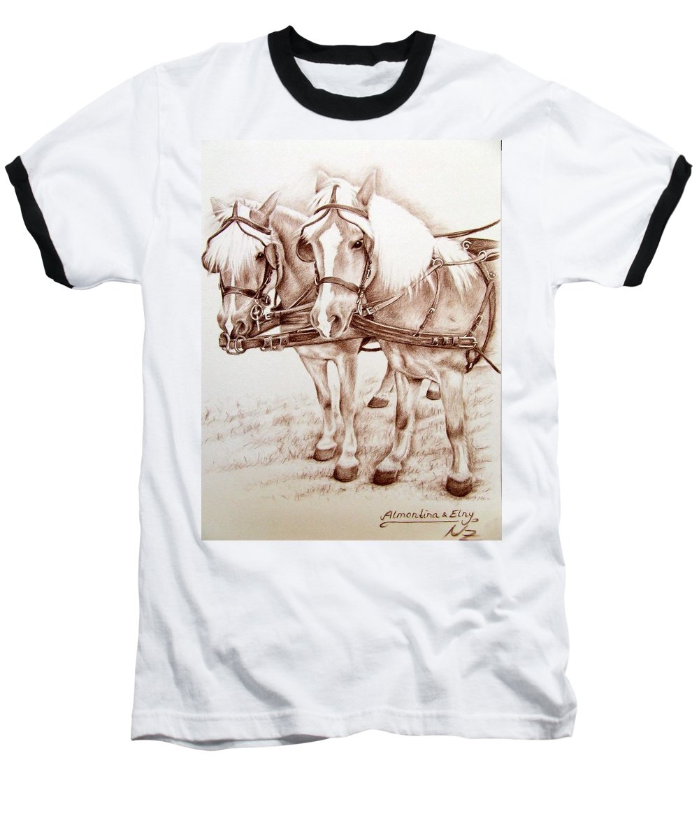 Horses Baseball T-Shirt featuring the drawing Coach Horses by Nicole Zeug
