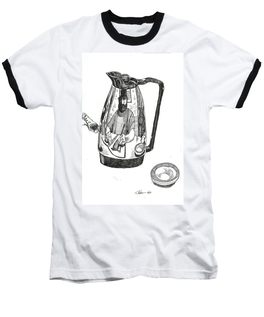 Pen And Ink Baseball T-Shirt featuring the drawing Coffee Pot by Tobey Anderson