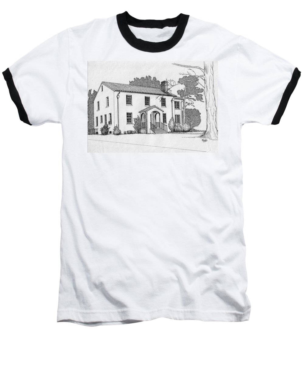 Drawing - Pen And Ink Baseball T-Shirt featuring the drawing Colonel Quarters 2 - Fort Benning Ga by Marco Morales