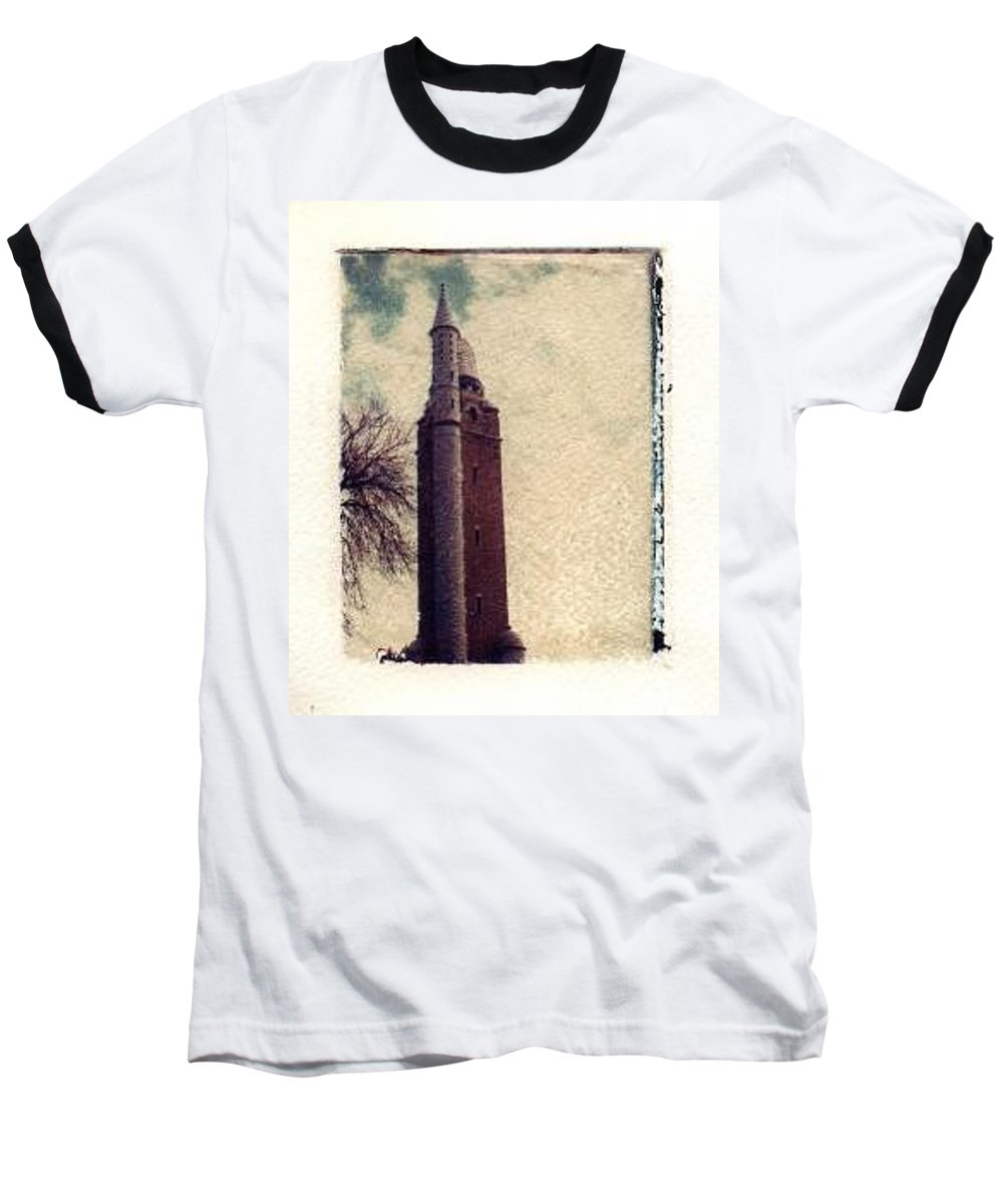 Polaroid Transfer Baseball T-Shirt featuring the photograph Compton Water Tower by Jane Linders