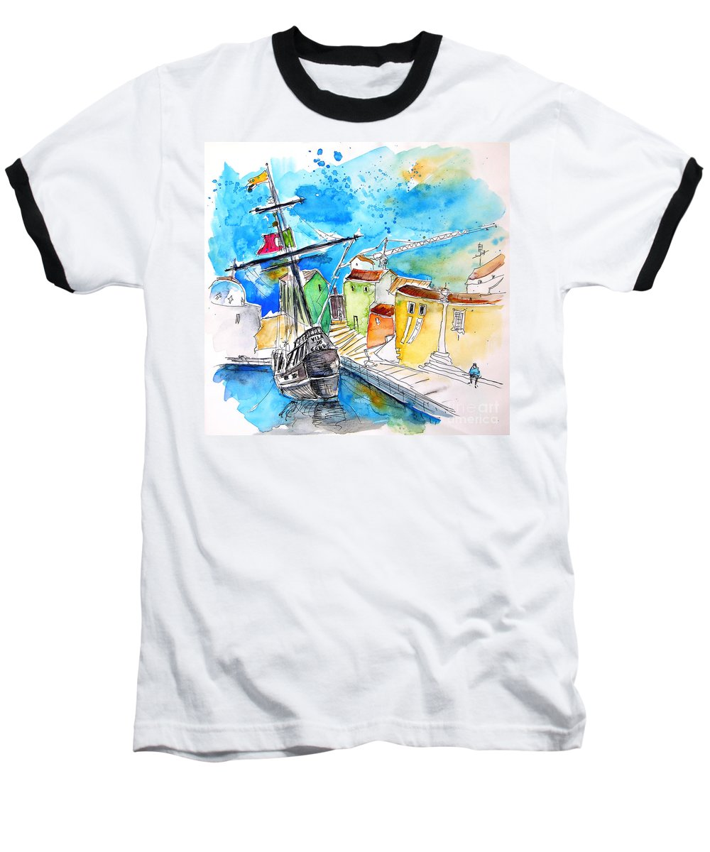 Portugal Baseball T-Shirt featuring the painting Conquistador Boat In Portugal by Miki De Goodaboom