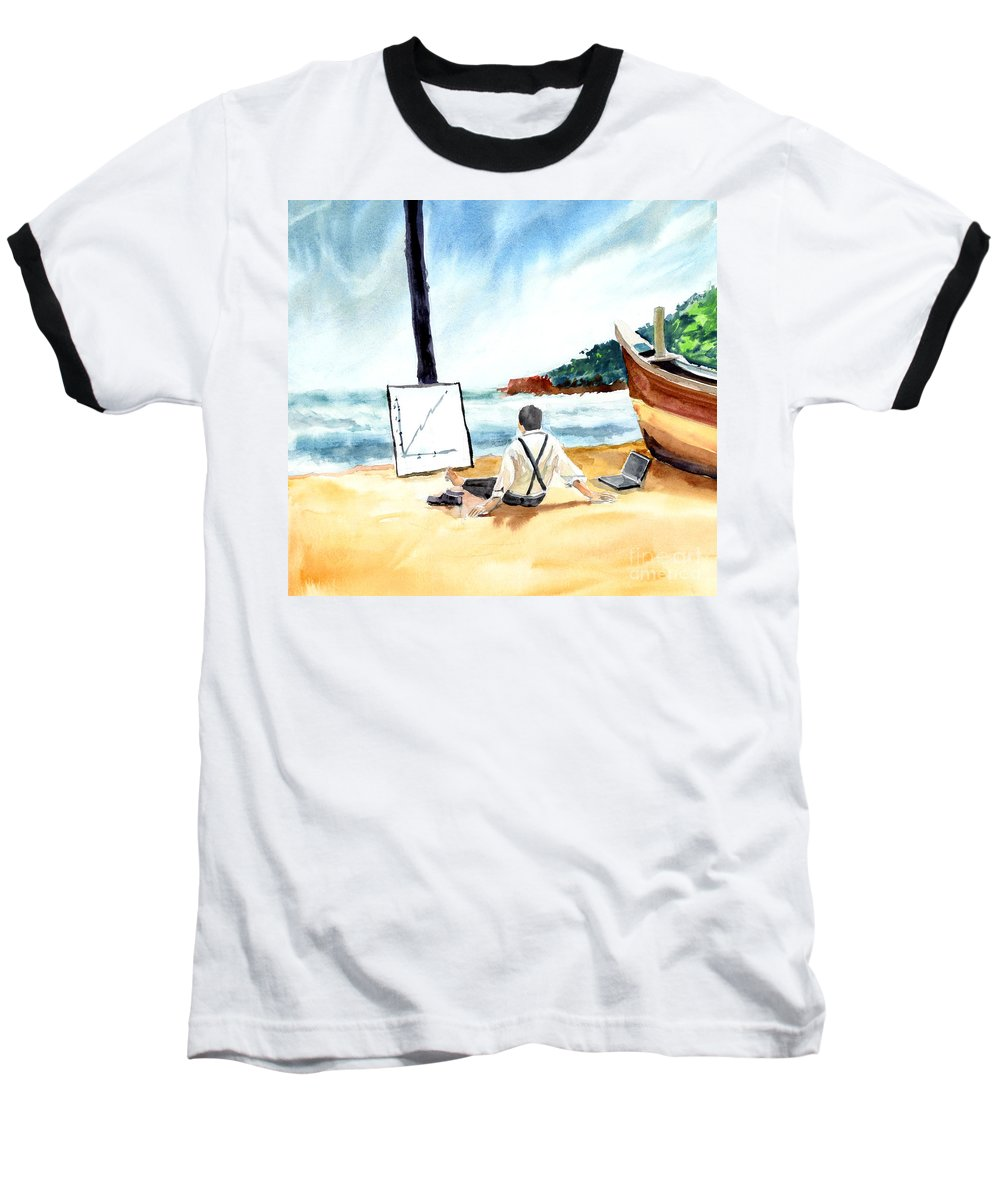 Landscape Baseball T-Shirt featuring the painting Contemplation by Anil Nene