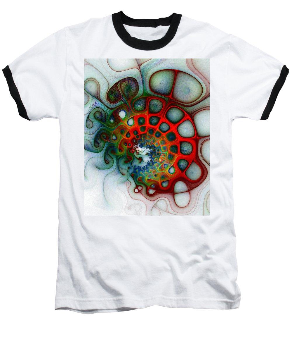 Digital Art Baseball T-Shirt featuring the digital art Convolutions by Amanda Moore