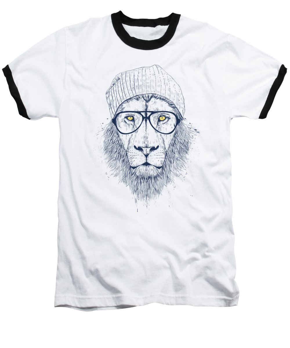 Lion Baseball T-Shirt featuring the digital art Cool Lion by Balazs Solti