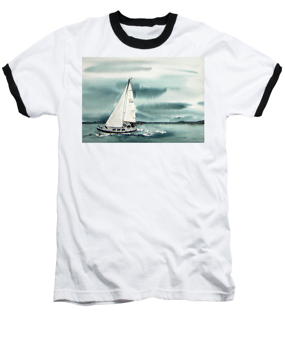 Sailing Baseball T-Shirt featuring the painting Cool Sail by Gale Cochran-Smith