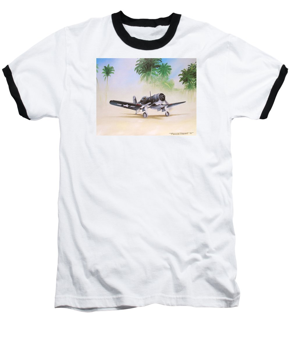 Aviation Baseball T-Shirt featuring the painting Corsair Preflight by Marc Stewart