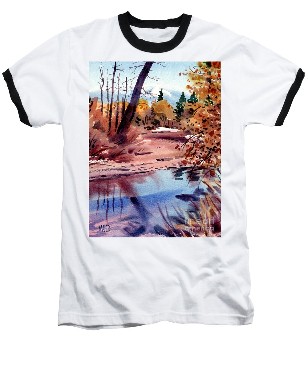 Cottonwood Trees Baseball T-Shirt featuring the painting Cottonwoods In October by Donald Maier
