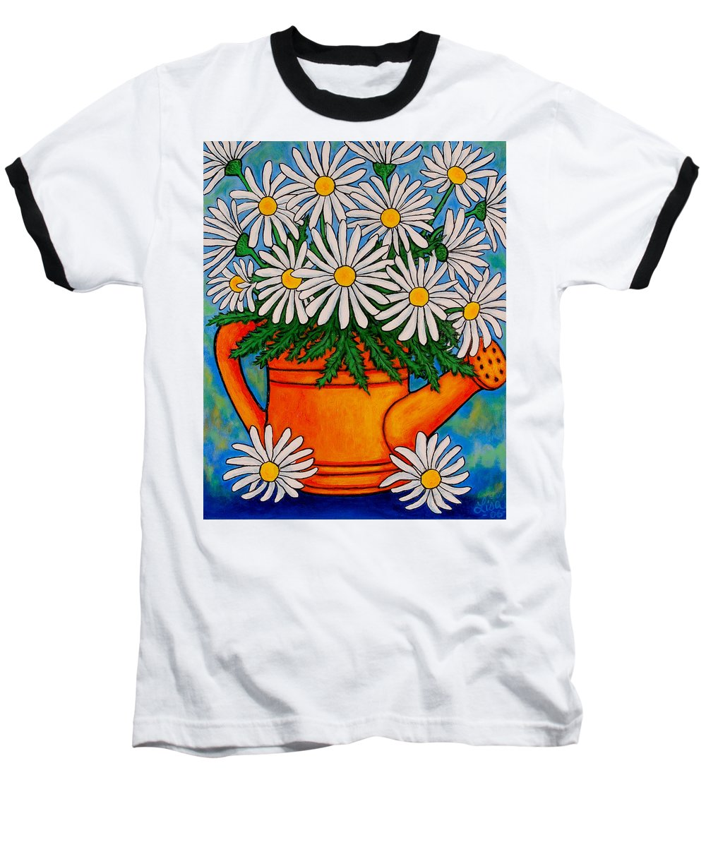 Daisies Baseball T-Shirt featuring the painting Crazy For Daisies by Lisa Lorenz