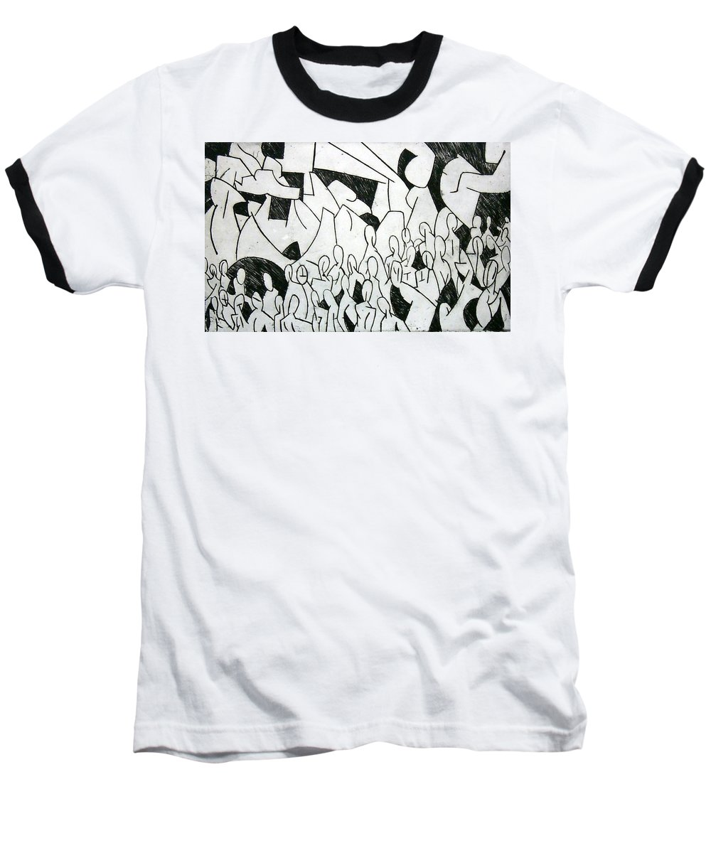 Etching Baseball T-Shirt featuring the print Crowd by Thomas Valentine