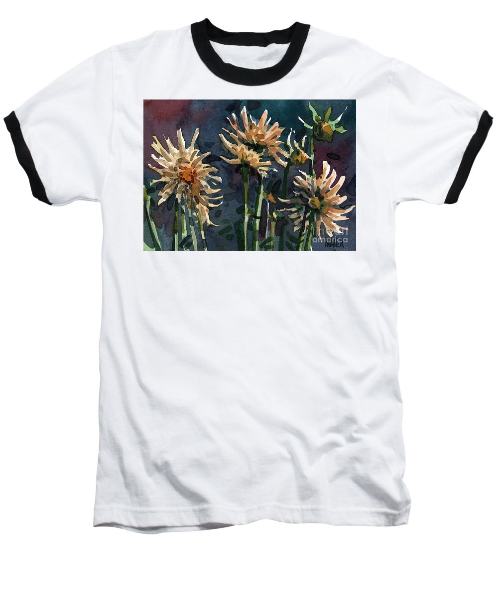 Floral Baseball T-Shirt featuring the painting Dahlias by Donald Maier